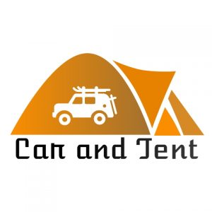 car and tent logo
