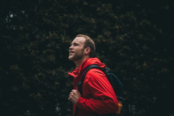 backpacker with water