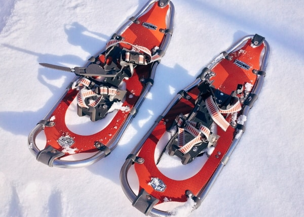 red snowshoes in snow