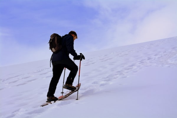 snowshoeing up a hill
