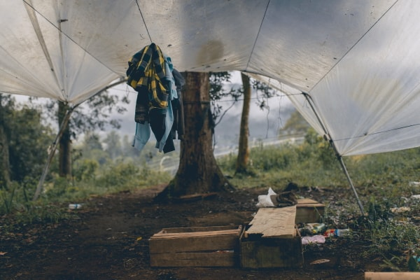 clothes hanging at a campsite