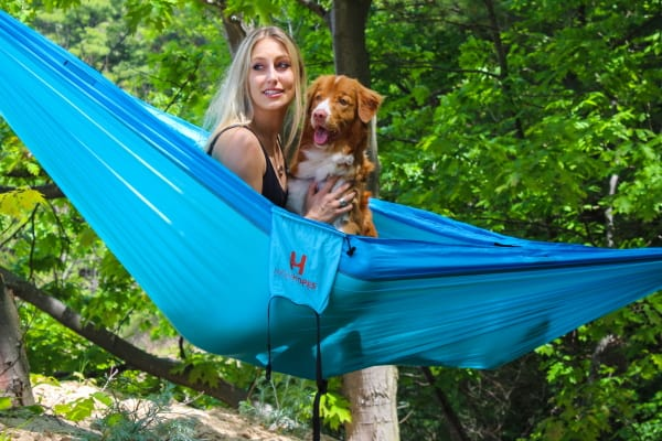 hammock camper with dog