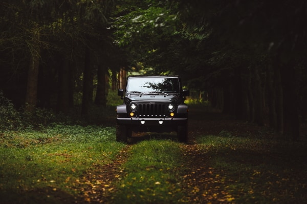 jeep at campsite